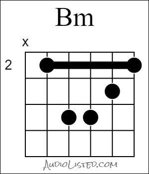 B Minor Chord Barre 2nd Fret 5th String Root