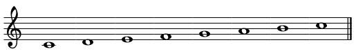 C Major Scale Standard Notation